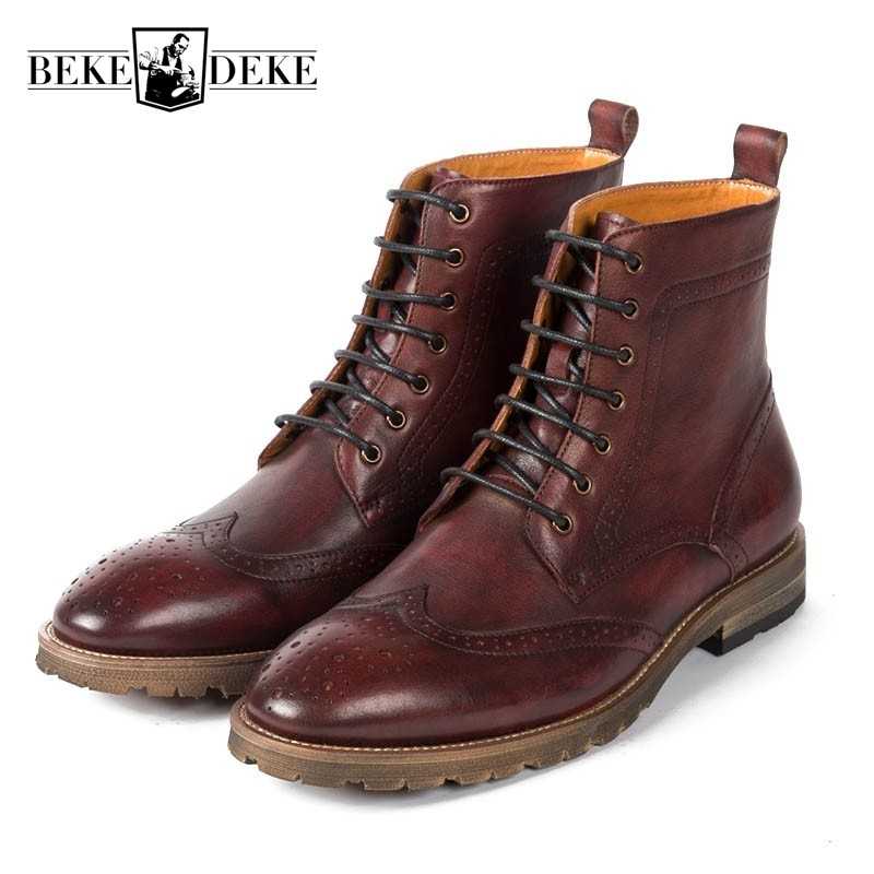 2018 Autumn Cow Real Leather Mens Martin Boots High Top Brogue Work Safety Shoes Man Footwear British Retro Lace Up Ankle Botas fall trendboots in europe and america heavy bottomed martin boots british style high top shoes shoes boots sneakers