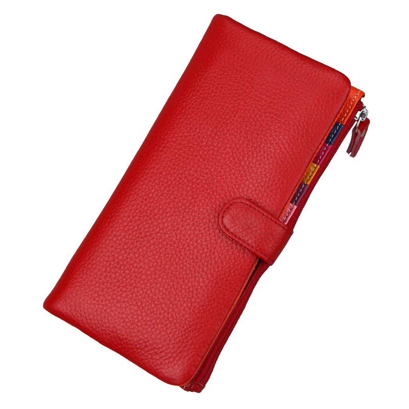 High Quality Genuine Leather Women Wallet Candy Color Long Coin Purse Lady Zipper Hasp Clutch Multi-Card Holder Thin Cash Wallet 2016 new brand short women s wallet high quality guarantee designer s high heeled shoes hasp purse for lady free shipping