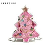 LEFTSIDE Winter Bags 2018 New Fashion Women Christmas Tree Bag Female Crossbody Bags PU Leather Handbags