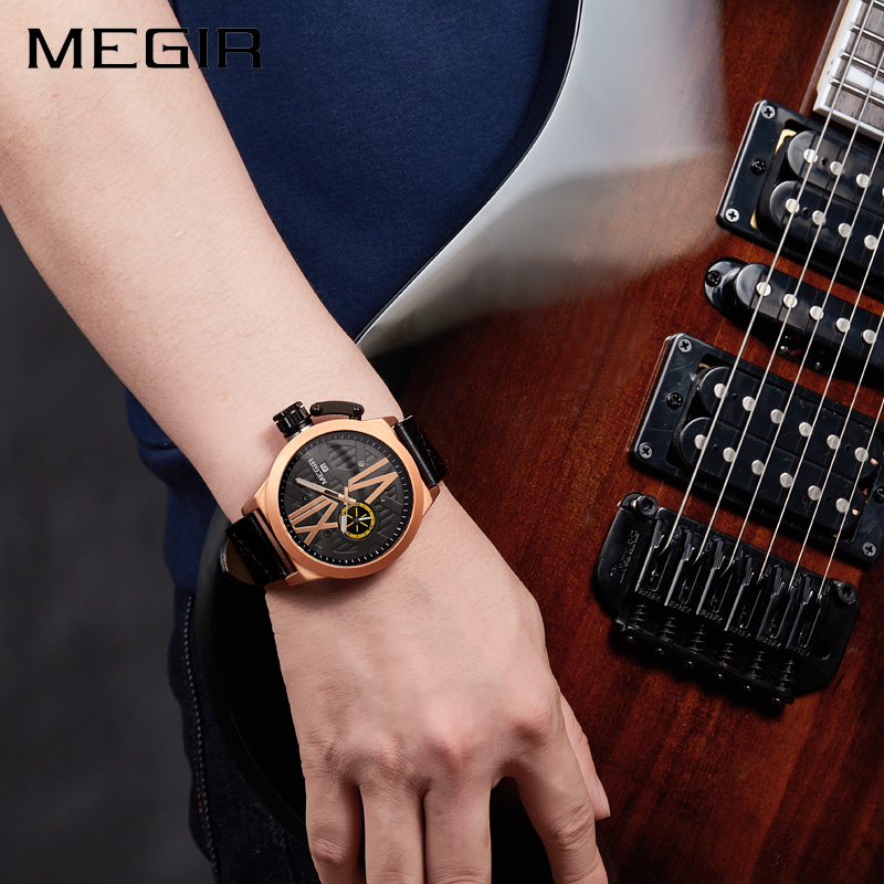 Megir Business Quartz Watch Men Watches Top Brand Luxury Famous Male Clock Leather Wristwatch For Man Hodinky Relogio Masculino new stainless steel wristwatch quartz watch men top brand luxury famous wrist watch male clock for men hodinky relogio masculino