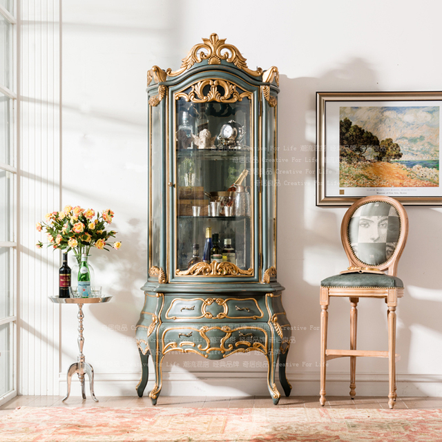 French Neo Classical European Imports Of White Beech Furniture Hand Carved  Gilded Blue Glass