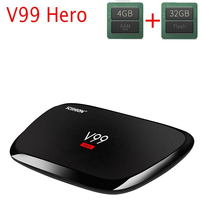 4GB RAM 32GB ROM Android TV Box V99 Hero RK3368 Android 5.1 Smart TV BOX WiFi Bluetooth 4.0 H.265 UHD 4K 1000M LAN Media Player