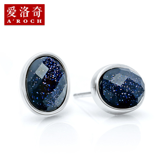 925 Silver natural semi-precious stones male simple Black Onyx Oval Korean men lovers ear jewelry Blue gravel girlfriend gfit