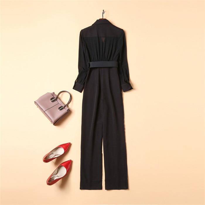 Новинка 2018, элегантные женские комбинезоны, черный комбинезон с длинным рукавом, модные женские повседневные длинные штаны, комбинезоны с к... - 4