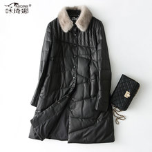 Genuine Leather Jacket Women Autumn Winter Coat Female Down Jacket Mink Fur Collar Long Real Sheepskin Leather Jackets KJ897