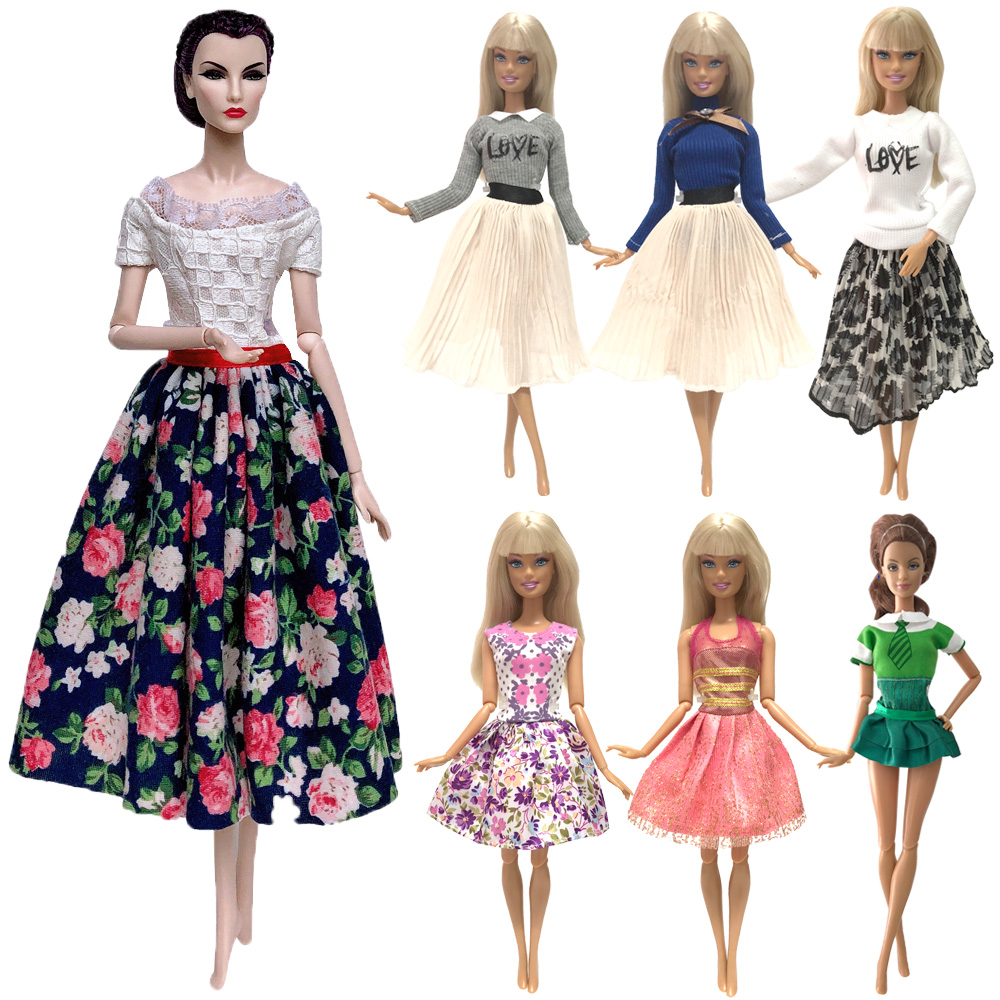 NK Newest 1x Doll Clothes Fashion Dress Daily Wear Skirt Party Gown Outfit For Barbie Doll Accessories  Baby Toys Gift  G5 JJ