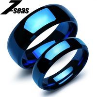 Fashion Korean Jewelry Stainless Steel Wedding Bands Couple Rings Blue His And Hers Promise Ring Sets