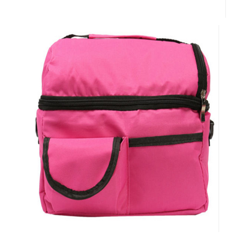 5 pcs of BEAU insulated cooler bag lunch changing storage foldable picnic cooler bag Rose red