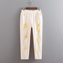Women Colorful Hole Jeans Plus Size 3 4 5 6 XL Casual Stretched Pencil Pants Slim Denim Trousers