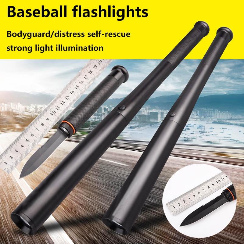 Strong light led flashlight 18650 T6 mace baseball bat long-range outdoor military home explosion-proof belt knife