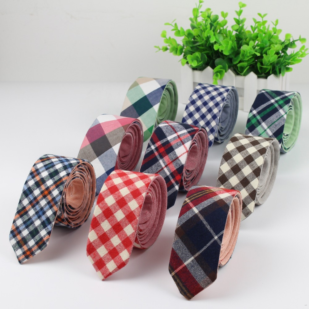 Two Tier Mens Fashion Diamond Check Artificial Wool Cotton Striped Skinny Ties Men Business Small Ties Designer Cravat