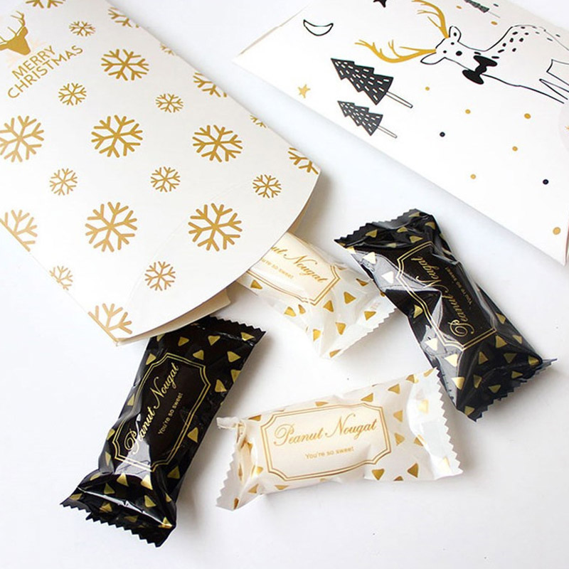 Merry Christmas Pillow shaped Candy Boxes Reindeer Snowflake Pattern 50pcs lot for Xmas New Year Favor Gifts AQ087 in Gift Bags Wrapping Supplies from Home Garden