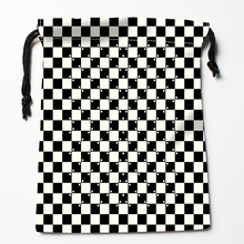 Custom Black and white lines Drawstring Bags Custom Printed gift bags More Size 27x35cm Compression Type