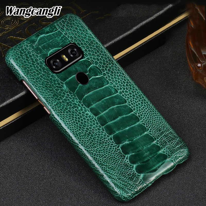 Wangcangli الطبيعية النعامة القدم الجلد حقيبة لجهاز LG الهاتف G6 جلد طبيعي الهاتف الخلفي قذيفة حماية الهاتف