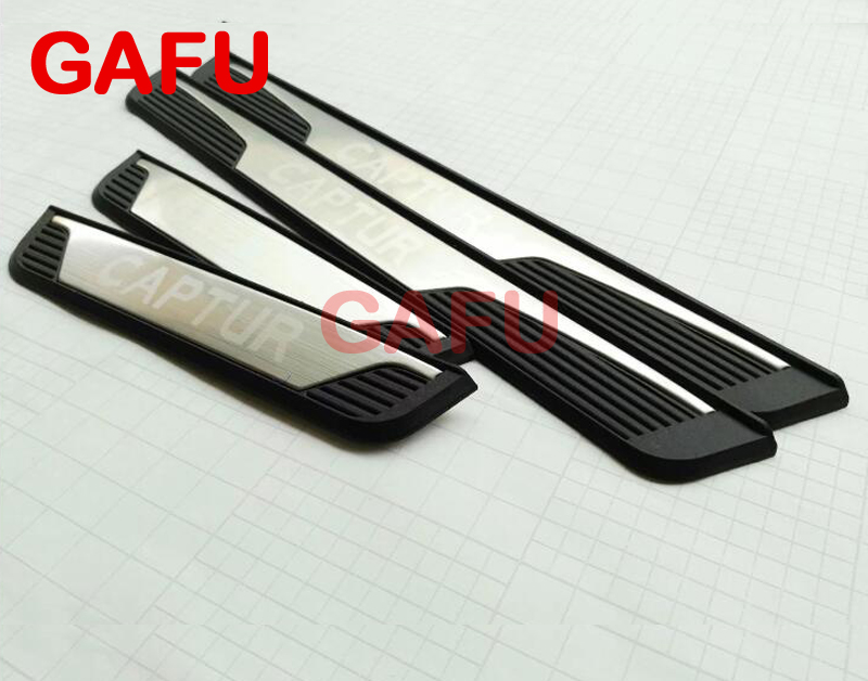 Car Door Sills Sticker For Renault Captur Stainless Steel Door Sill Scuff Plate Car Accessories 2014 2015 2016 2017 sports car door sill scuff plate guard sills for 2014 mazda 6 atenza m6