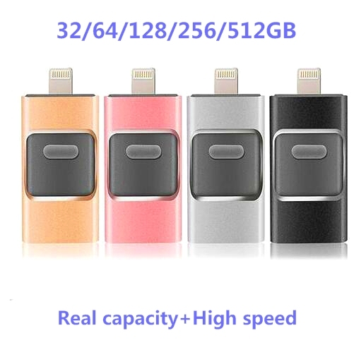Novo i-flash pen driver hd disco de u-relâmpago de dados para o iphone/ipad/ipod, interface de micro usb flash drive para pc/mac 128/32/16/64 gb
