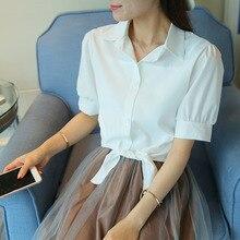 купить White Bow Tie Plus Size Crop Top Women's Blouse Short Puff Half Sleeve Turn Down Collar Pink Woman Shirts 2019 Casual Female Top по цене 533.36 рублей