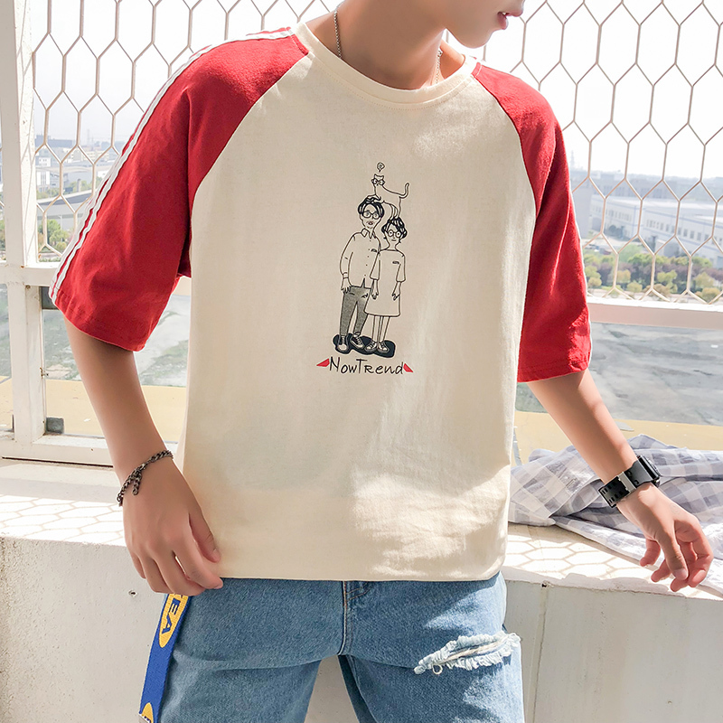 2018 Spelling Color Round Neck Cartoon Printing Fashion Short Sleeve Teenagers T Pity white and khaki Free shipping Favourite