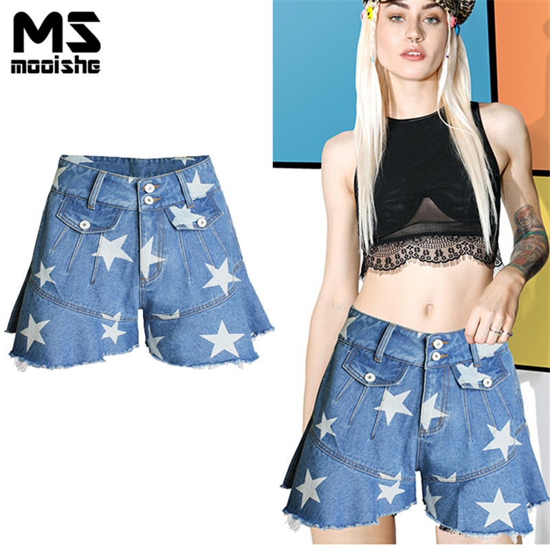 Mooishe Summer Star Jean Shorts Tassel multi pocket Boyfriend Light High Waist Denim Shorts