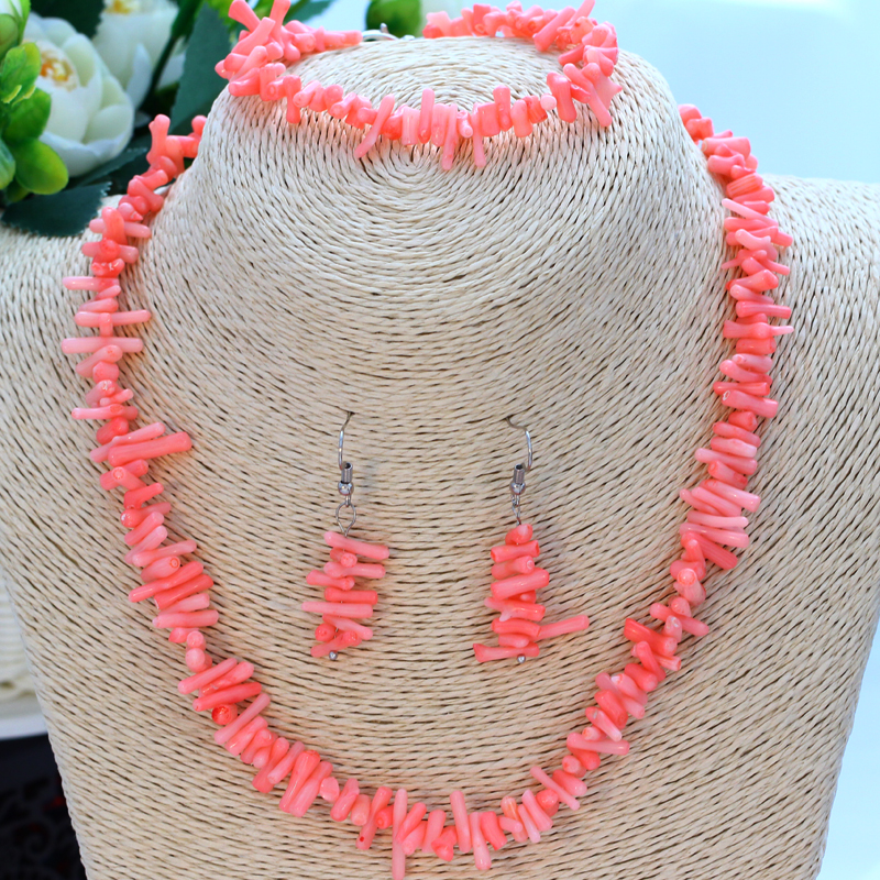 Pink Artificial Coral Jewelry Sets Women Natural Stone Irregular Beaded Necklace Collares Drop Earrings Link Bracelets Set