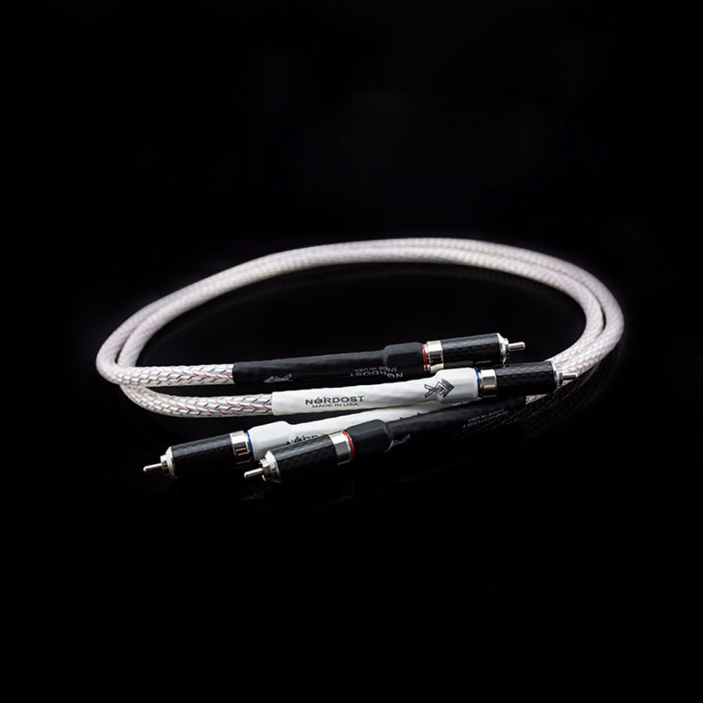 pair Nordost Valhalla gold-silver alloy audio RCA interconnect cable with Carbon fiber RCA plug