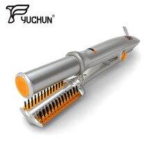 Gümüş 2 in 1 saç düzleştirici ve bigudi doğrultma ütüler çok saç şekillendirici ile led ışık titrek saç düzleştirici