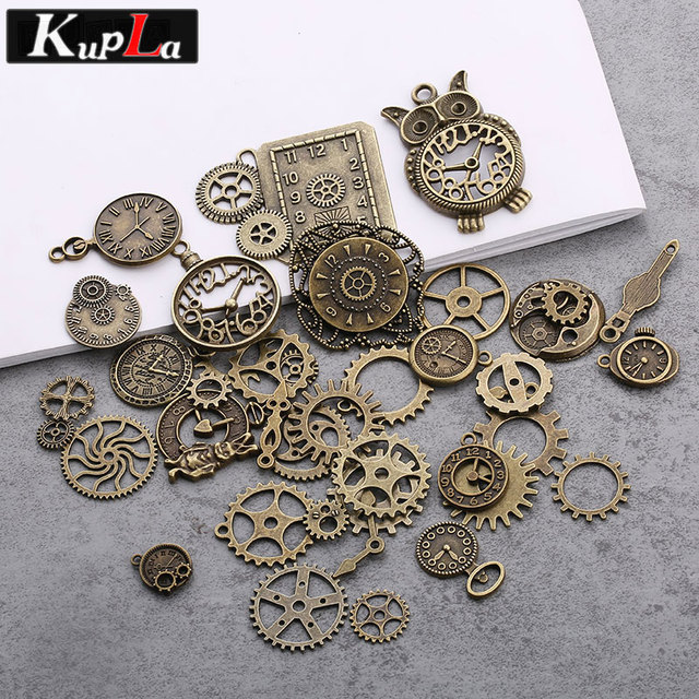 Vintage Metal Mixed Steampunk Clock Gear Charms Diy Fashion Handmade Accessories Pendant For