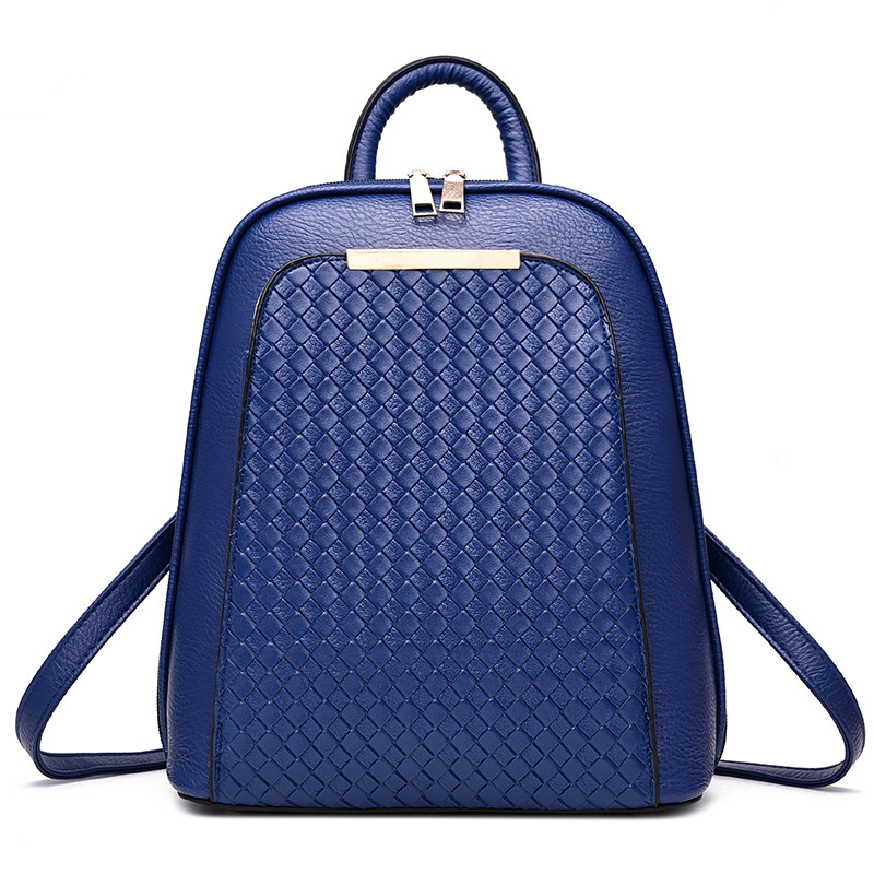 Elegant Royal Blue PU Simple Casual Women Backpacks Fashion Girl's Schoolbag Adjustable Straps цена