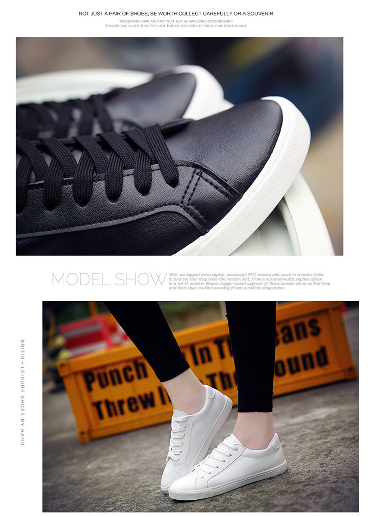 16 New Spring and Summer With White Shoes Women Flat Leather Canvas Shoes Female White Board Shoes Casual Shoes Female 6