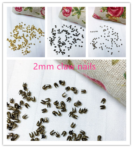 100pcs 2mm Claw Nail Buckles Rivets Round Beads Pawls DIY Dolls Clothing Shoes Bag Accessories BJD Doll Rivets