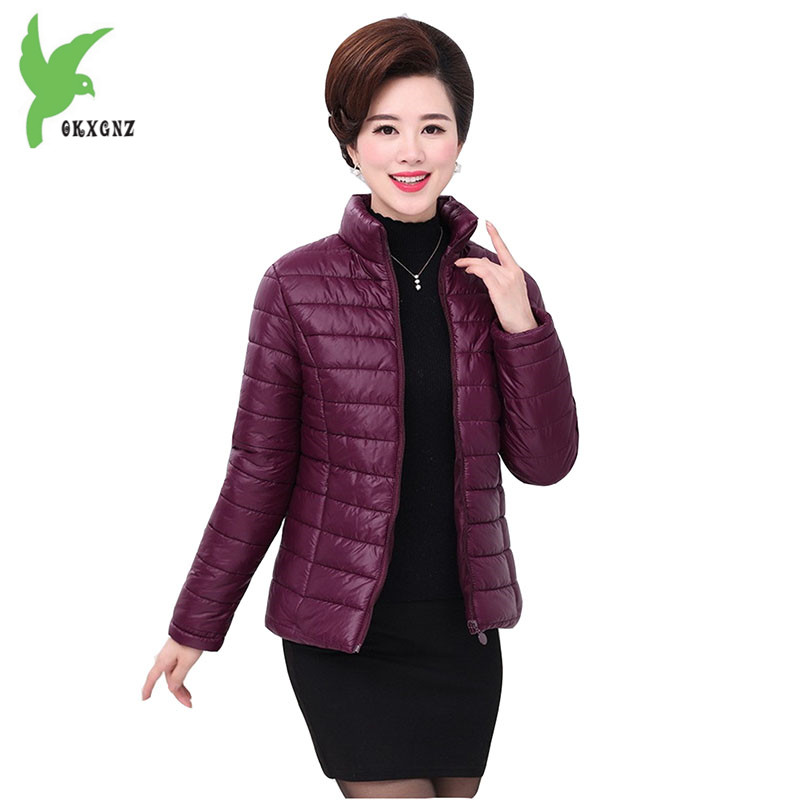 2017 Autumn Winter Thin Jackets Female Down cotton Coats Short Parkas Middle age Casual Outerwear Plus Size Women Jackets OKXGNZ new women s autumn winter down cotton coats fashion solid color casual keep warm jackets thin light slim parkas plus size okxgnz