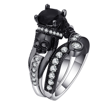 Ufooro Skull Bridal Ring Jewelry Sets For Women Men Punk Style