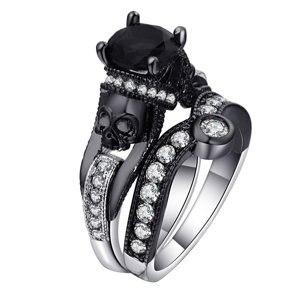 Conjunto de anillos de calavera Ufooro para mujer, hombre, estilo Punk, joyería de moda, conjunto de anillos negros redondos de circonita cúbica, esqueleto malvado para la fiesta,