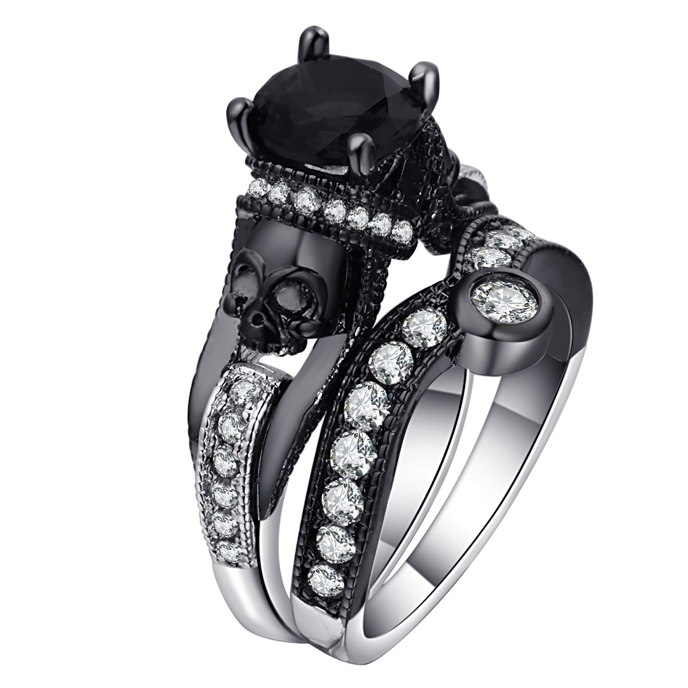 Ufooro Skull Ring Set For Women Men Punk Style Fashion Jewelry Charm Black Round Cubic Zirconia