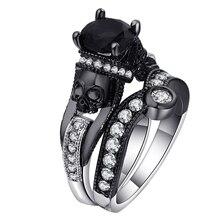 Ufooro cráneo anillo para los hombres y las mujeres estilo Punk del encanto de la joyería de moda negro redondo Cubic Zirconia mal esqueleto anillo conjunto para la fiesta,