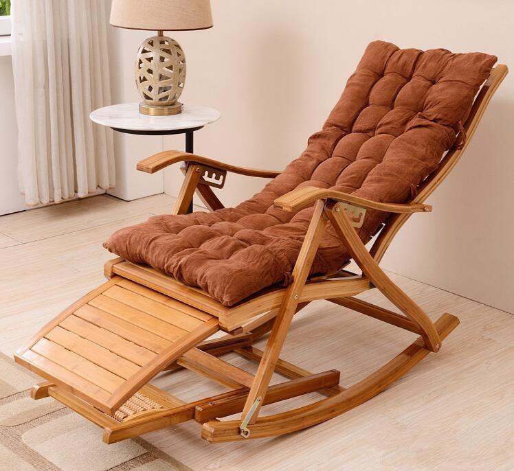 Modern Rocking Chair Bamboo Furniture Outdoor Indoor Rocker Reclining Back Recliner Mechanical Chairs Cushions