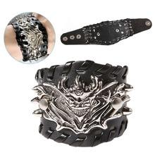 Fashion Jewelry PU Leather Punk Rock Dragon Wristband Bangle Black Men Boys Bracelet Gift  88  CX17