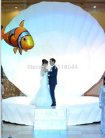 Cheap event led light decoration cowry huge inflatable clam shell with led inflatable stage performance