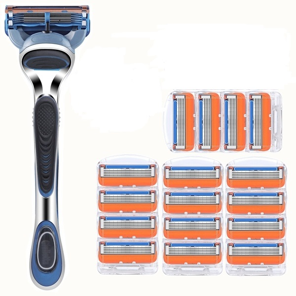 1Holder +N Razor Blade Compatible With Fusione Razor Men's Shaver Razor Blades 5-layer Razor Blades For Men Shaving
