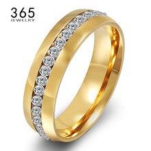 Anéis de dedo femininos, elegantes, anéis de aço inoxidável, de casamento, cheio de pedra transparente, anéis de cristal para mulheres, presente para senhoras