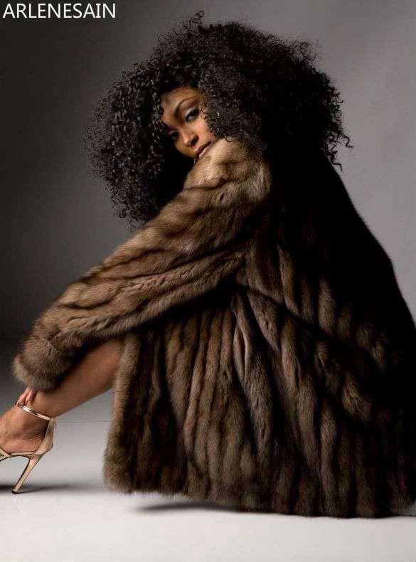 Arlenesain Mode 2019 Nouvelle De Marron Zibeline Importé Personnalisé Femmes Fourrure Manteau nkOwP0