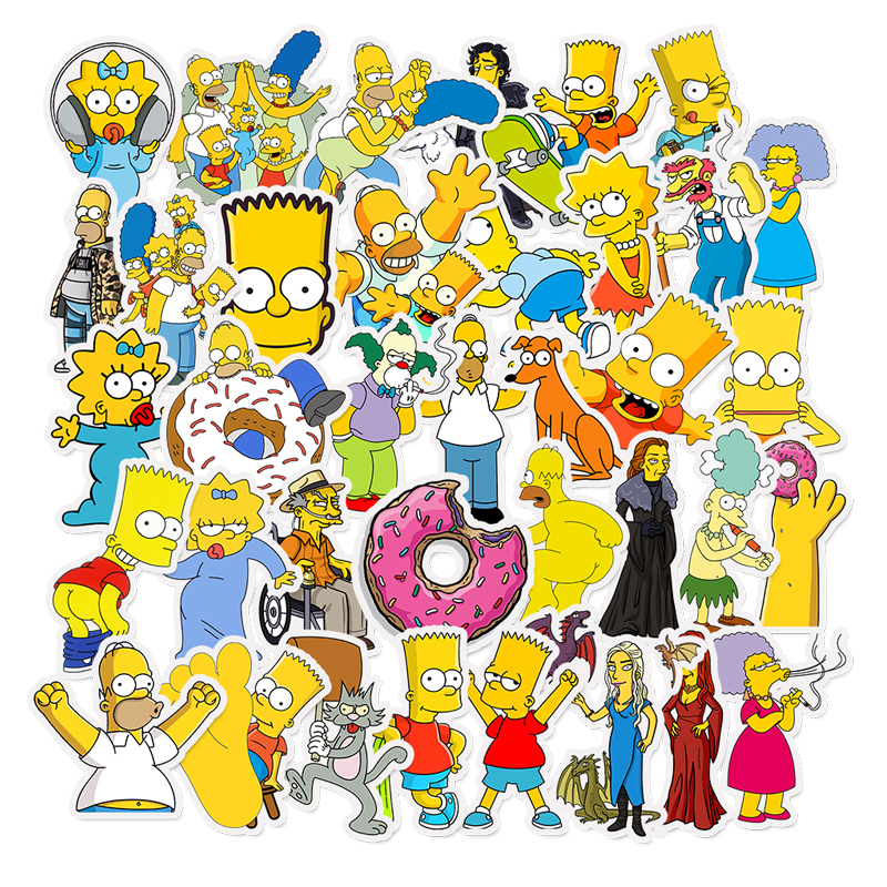 Simpsons Laptop Stickers Suitcase Skateboard Moto Funny Cool Anime Cartoon 50pcs/Lot