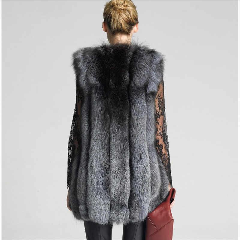 シルバーフォックスベスト革 2019 冬の女性の毛皮のベストの秋 Femle 毛皮のベスト冬暖かいノースリーブ生き抜くコート A2044