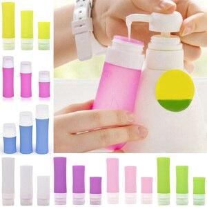 Image 2 - Botella de silicona rellenable cosmética portátil loción de viajero recipientes para champú de baño