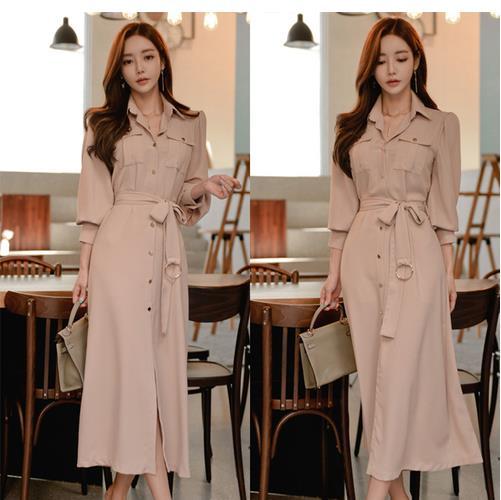 2019 Spring Formal Pencil OL Dress Business Women Single Breasted Turn Down Collar Long Sleeve Office Dress with Belt LJ44 1