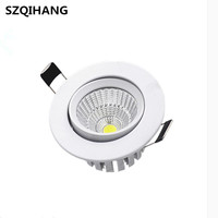 7W Dimmable Round LED Recessed COB Downlights White Aluminum Spot Lamp  AC100V-240V Angle Adjustable