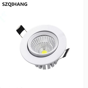 7W Dimmable Round LED Recessed COB Downlights White Aluminum Spot Lamp  AC100V-240V Angle Adjustable 7w dimmable cob led recessed cob downlights cob led ceiling lamp warm natural cold white white aluminum spot lamp ac85 265v