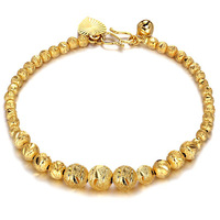 Irregular Beads Chain  Yellow Gold Filled Carved Womens Bracelet Link Gift