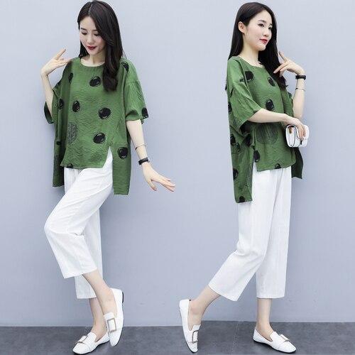 Summer Cotton Linen Two Piece Sets Outfits Women Plus Size Dot Print Tops And Harem Pants Suits Casual Vintage Loose 2 Piece Set 43
