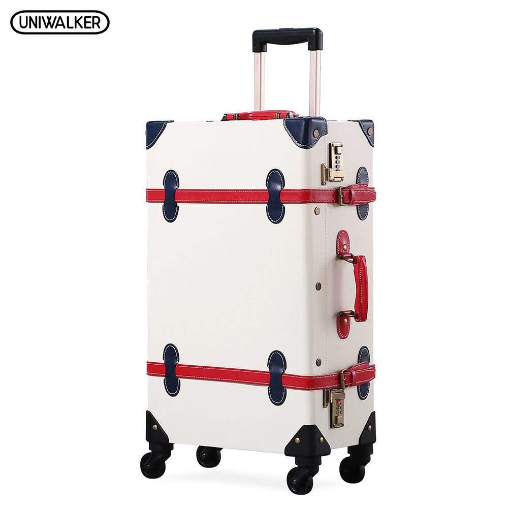 UNIWALKER White PU Leather Retro2''24''26'' Rolling Luggage 20'' Carry On Vintage Suitcase with Red Stripe Travel Trolley Bag vintage suitcase 20 26 pu leather travel suitcase scratch resistant rolling luggage bags suitcase with tsa lock